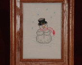 Snowman, picture, Christmas wall art, counted cross stitched Christmas picture, hand stitched snowman, framed Christmas picture, art