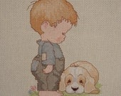 Little boy decorative pillow for a nursery, child's decorative pillow, dog and boy picture, gift for a little boy, cross stitching