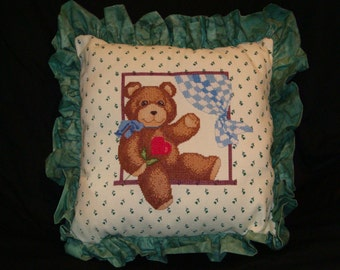 Teddy bear, counted cross stitched pillow, green ruffled teddy bear pillow, child's room decoration, collector pillow  gift for a child,