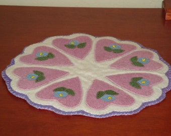 Candle mat, wool, felted, lined, washable, table decor, pink, hearts, table protector, accessory