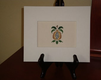 Picture of fruit, cross stitch on linen, framed picture of fruit, picture using white frame, wall art for the kitchen, home decor