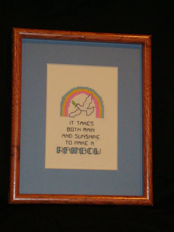 Rainbow friendship cross stitch picture, cross stitched framed picture, words of  encouragement for a gift, home decoration. wall art