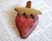 Adorable wood strawberry brooch