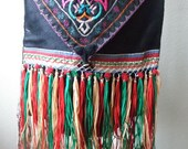 Antique Chinese Embroidered Beaded with Fringe Silk Tribal Shoulder Bag