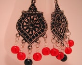 Gothic Red And Black Chandelier Earrings