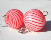 Candy Cane Earrings -- Red and White Striped Hollow Glass -- Ornament Earrings -- Holiday Jewelry -- Christmas -- Gift -- Present -- Winter
