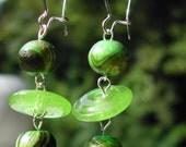 Wood And Glass Earrings--Kiwi Swirl Dangles