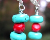 Turquoise And Coral Earrings -- Black Friday -- Cyber Monday -- Sale