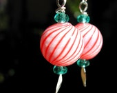 Candy Cane Earrings -- Holiday Glass Earrings--Frost and Hard Candy Hollow Glass Dangles -- Winter Jewelry