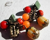Autumn Earrings - Yellow Pumpkin Olive Squash Melon Tangerine Cornucopia Cluster Earrings