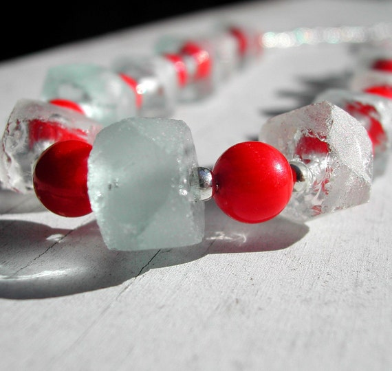 Recycled Glass And Red Coral Bamboo Necklace--Cranberries and Frost