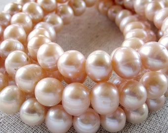 Pink Pearls, Round Pearls, Large Pearls, Freshwater Pearl, 9mm, Pale Pink Pearl, Natural Pearls, Potato Pearls, Baroque Pearls Full Strand
