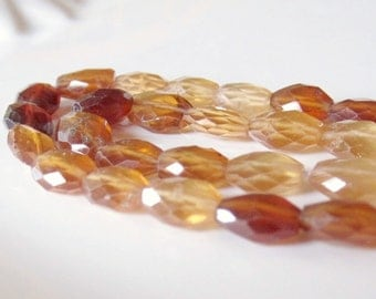Hessonite Garnet Ovals, Garnet Beads, Hessonite Beads, Center Drilled, Faceted Ovals, Garnet Oval Beads, Shaded Hessonite, 9x7mm- 1/2 Strand