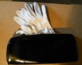 Vintage Duo White Goves and Black Patent Leather Clutch