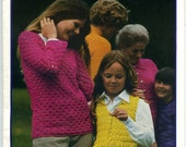 1970s Vintage Family Crochet Booklet - Patterns for Sweaters, Dresses, Suits, and Vests
