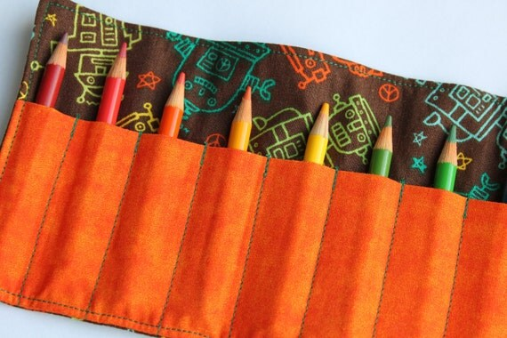 Boys Crayon Roll Up with Velcro OR Ribbon Closure (YOU PICK) / Colored Pencil Roll - Orange and Teal Robots