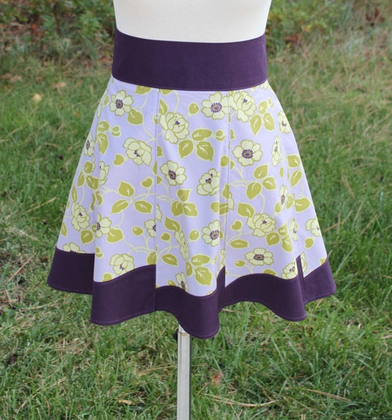 Twirly Half Apron for Women - Purple and Green Flowers - Ready To Ship