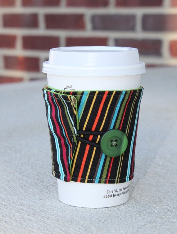 Fabric Coffee Cup Sleeve, Beverage Coozie - Multicolored Stripes