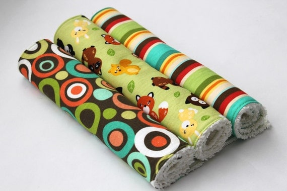 Baby Burp Cloth Set - Gender Neutral Burp Cloths - Red, Green, and Brown - Stripes, Dots, and Woodland Animals
