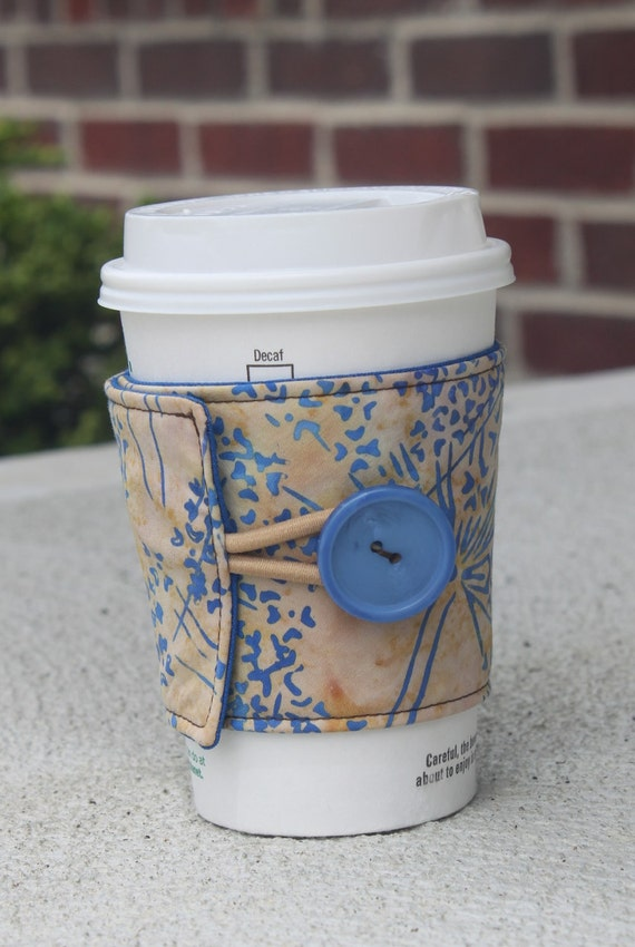 Reusable Coffee Cup Coozie / Sleeve - Tan & Brown Sparkler Batik - Adjustable Cozy with Button and Elastic