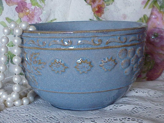 Spring Sale...Beautiful BLUE Raised Design Bowl