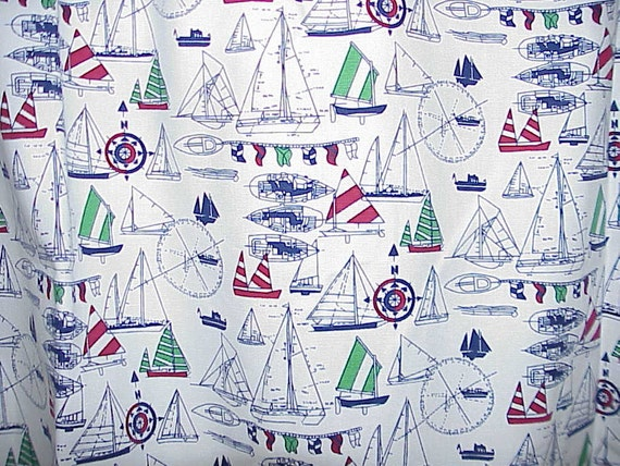 CHARMING Vintage Waverly NAUTICAL CURTAIN 54 inches Wide