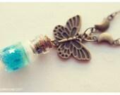 Crescent Moon Butterfly Glass Bottle Pendant glitter gel. CUSTOM COLOR. Butterfly necklace, glitter Bottle, miniature bottle charm pendant