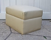 Mid Century Upholstered Ottoman with Storage