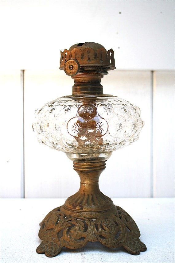 Sale Antique Oil Lamp Hand Blown Glass Circa 1830