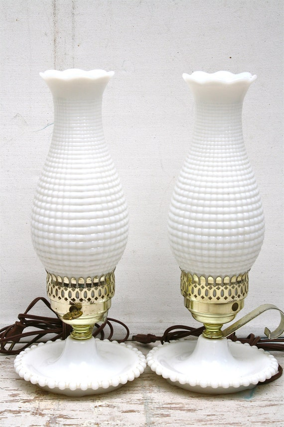 Fenton Milk Glass Hurricane Lamps White Hobnail