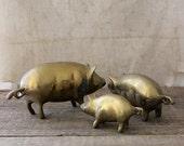 v i n t a g e  family of brass pigs
