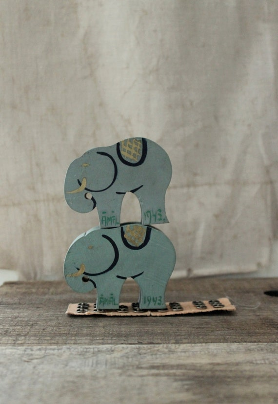 vintage Swedish handmade wood elephants