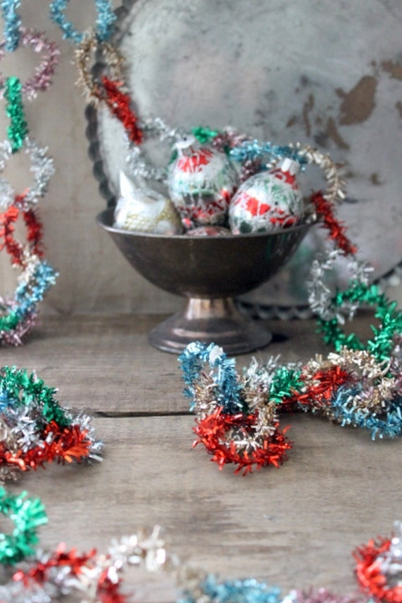 v i n t a g e  japanese multi-colored tinsel garland