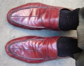 RESERVED for PJ...1970s Vintage Bruno Magli Men's Shoes11.5N Burgundy Italian Leather Slip On's