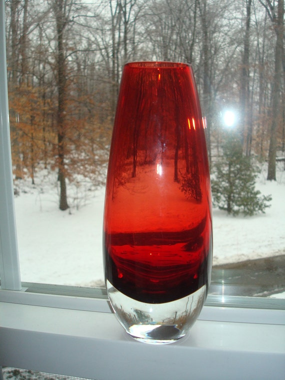 Ruby Red Handblown Art Glass Vase Murano Style By Pearlandswine