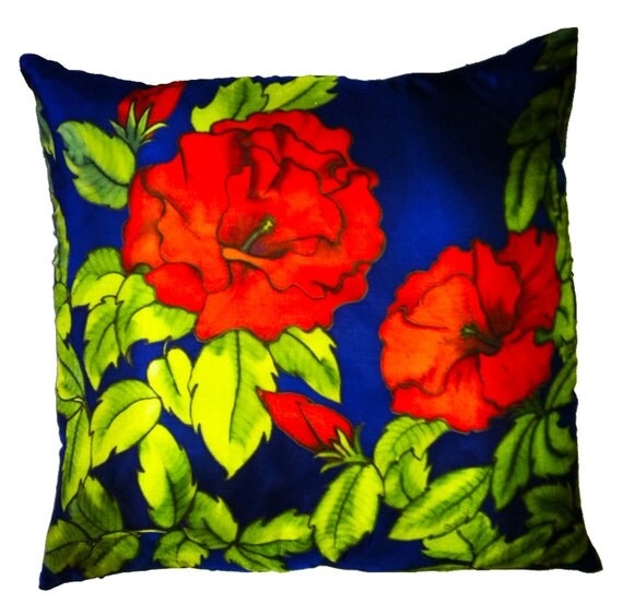 RED FOR PASSION - Decorative Hand Painted Silk Pillow - - Made to Order