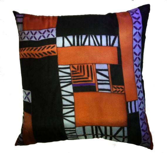 PATCHWORK ORANGE -Decorative Hand Painted Silk Pillow