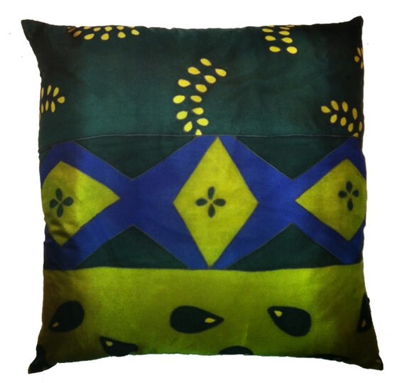 DIAMONDS & LEAVES Decorative Hand Painted Silk Pillow