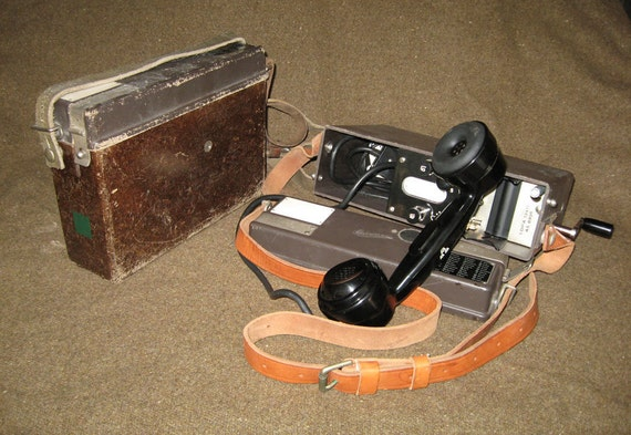 RESERVED FOR SHARON - Swedish Army Ericsson Field Telephone - 1940s - 1950s Vintage