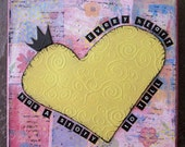 EVERY HEART - mixed media - original - 6x6 - deep edge canvas