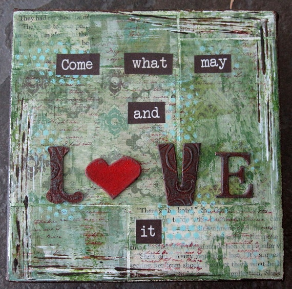 LOVE IT - mixed media - original - 6x6 - deep edge canvas