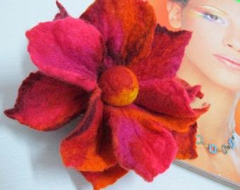 Felt brooch art brooch Fiery flower gift idea for women