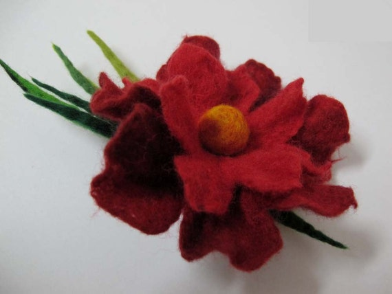 Felt Brooch  red rose, eco friendly  holiday gift  idea