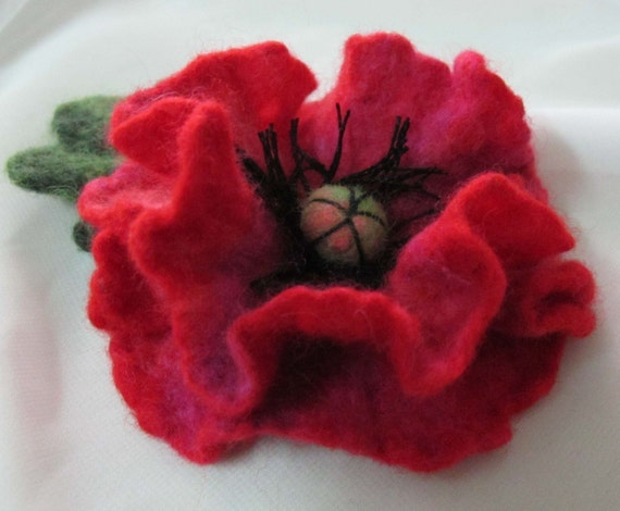 Felted brooch  red poppy flower Feminine Gift For Her, HOLIDAY SALE christmas eco friendly gift idea for women