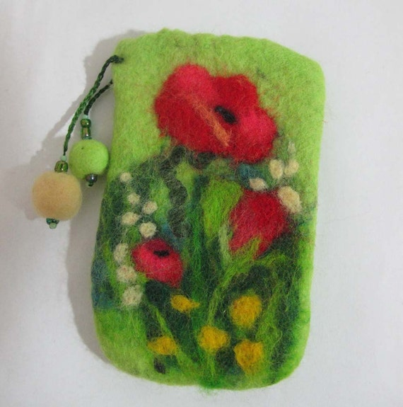 Felted case for cell phone