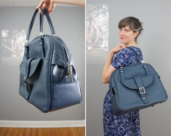 vintage 1960s American Tourister cornflower blue overnight bag