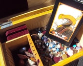 Vintage Aquarian Tarot Deck - 1st Edition 1970 - With Handmade Decorated Wooden Tarot Box Filled with Gemstones