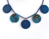 Blue Hand Enameled Globe Necklace