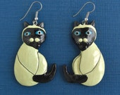 Vintage Hand Painted Siamese Cat Earrings - Large & Pierced