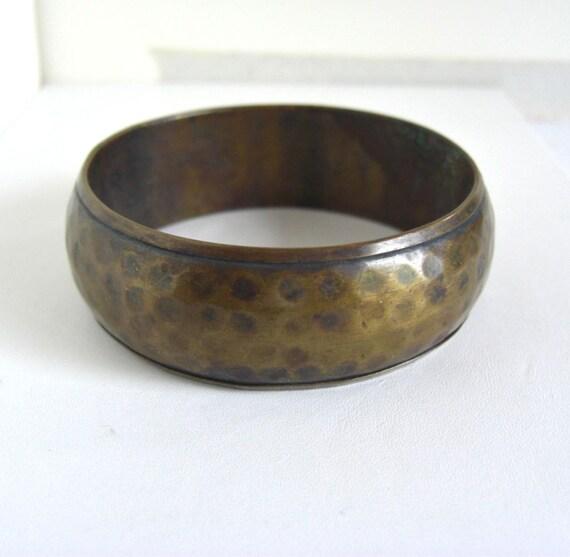 Vintage Hand Hammered Brass Bangle Bracelet